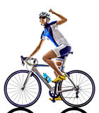 Woman triathlon ironman athlete cyclist cycling Stock Photography