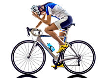 Woman triathlon ironman athlete cyclist cycling Royalty Free Stock Photography
