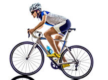 Woman triathlon ironman athlete cyclist cycling. Woman triathlon ironman athlete  cyclist cycling on white background Stock Images
