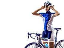 Woman triathlon ironman athlete cyclist cycling Royalty Free Stock Photo