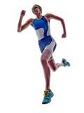 Woman triathlon ironman runner running athlete. Woman triathlon ironman athlete runner running  on white background Royalty Free Stock Photos
