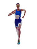 Woman triathlon ironman runner running athlete Royalty Free Stock Images