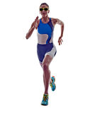 Woman triathlon ironman runner running athlete. Woman triathlon ironman athlete runner running  on white background Stock Images