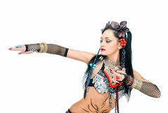 Woman in tribal dance Royalty Free Stock Photography