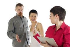 Woman tries rebuke man and girl Stock Photography