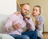 Woman tries reconcile with man Royalty Free Stock Images