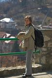 Woman on trip. With small backpack Stock Photo