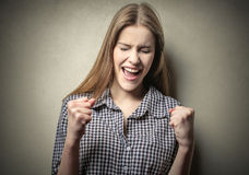Woman triumphant Stock Photos