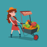 Woman Trolley With Fresh Vegetable Harvest Shop Eco Farming Royalty Free Stock Images