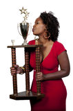 Woman with Trophy Stock Photo