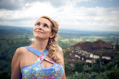 Woman on the tropical balinese landscape background, North of Bali island, Indonesia. Royalty Free Stock Images