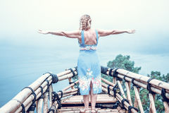 Woman on the tropical balinese landscape background, North of Bali island, Indonesia. Stock Photography