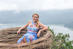 Woman on the tropical balinese landscape background, North of Bali island, Indonesia. Royalty Free Stock Photography