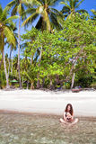 Woman at the tropical beach Stock Photo