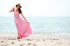 Woman in a tropical beach Royalty Free Stock Image