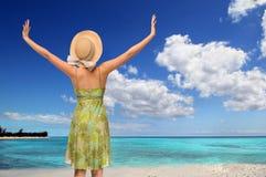 Woman in Tropical Beach Royalty Free Stock Photos