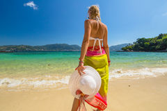 Woman in tropical beach Stock Image