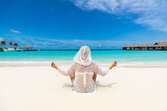Woman at the tropical beach Royalty Free Stock Photography