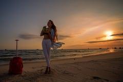 Woman on tropical beach stock photography