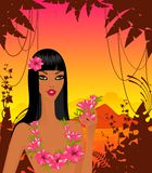 Woman with tropical flowers Royalty Free Stock Images