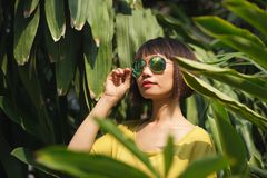 Woman in the tropical forest Stock Images