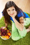 Woman tropical fruit diet. Stock Image