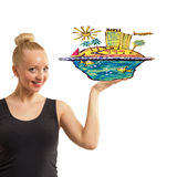 Woman with tropical island on handa Royalty Free Stock Photo