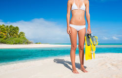 Woman on Tropical Island with Snorkel Gear Royalty Free Stock Photography