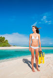 Woman on Tropical Island with Snorkel Gear Stock Photo