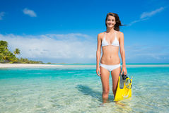 Woman on Tropical Island with Snorkel Gear Royalty Free Stock Photo
