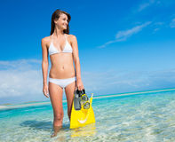 Woman on Tropical Island with Snorkel Gear Stock Photography