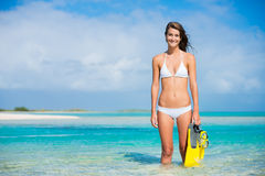 Woman on Tropical Island with Snorkel Gear Royalty Free Stock Image