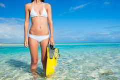 Woman on Tropical Island with Snorkel Gear Royalty Free Stock Photos