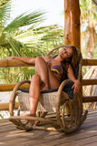 Woman at the tropical resort Stock Photos