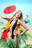 Woman in tropical resort Stock Images