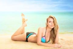 Woman at tropical sea Royalty Free Stock Image