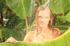Woman in tropical shower palms around Stock Photo