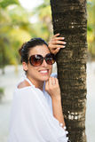 Woman on tropical vacation travel Stock Images