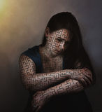 Woman troubled by maze. A woman troubled with a maze all over her body stock image