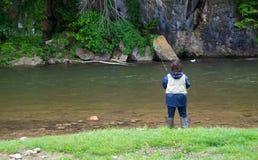 Woman Trout Fishing Stock Image