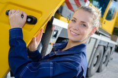 Woman truck driver in car Stock Photo