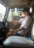 Woman truck driver Stock Image