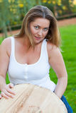 Woman and trunk Stock Photography