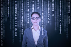 Woman try to translate japanese language Stock Photos