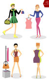 Woman trying on dress, Woman shopping, Woman in fitting room Stock Photo