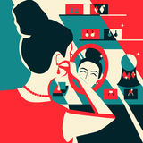 Woman trying on earrings Pleasure of purchase. Illustration for magazines, sites,sales and discounts. Stock Images