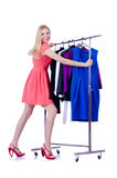 Woman trying new clothing. On white Royalty Free Stock Photography