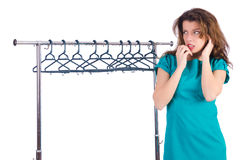 Woman trying new clothing Stock Photography