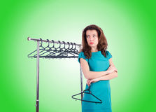 Woman trying new clothing against gradient Royalty Free Stock Photo