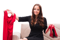 The woman trying new clothing sitting on sofa Royalty Free Stock Photo